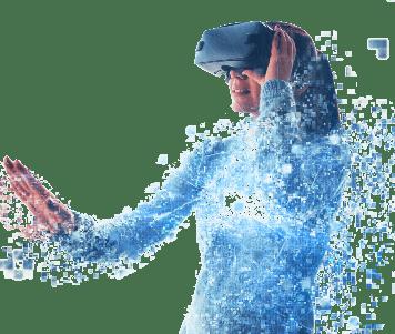 Femme avec lunettes de réalité virtuelle